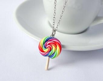 Rainbow lollipop necklace charm pendant candy sweet kawaii colourful