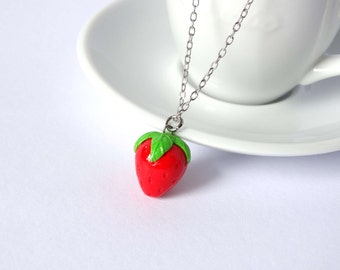 Strawberry necklace charm pendant fruit kawaii cute handmade polymer clay