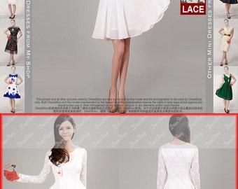 Long Sleeved White Lace Chiffon Dress / Little White Dress / White Fit and Flare Dress / White Lace Dress / Black Lace Dress / CD2