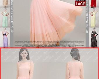 Coral Pink Lace Chiffon Maxi Dress with Eyelash Finished Hem - Scallop Hem Maxi Dress - White Maxi Dress -  Black Maxi Dress - 204