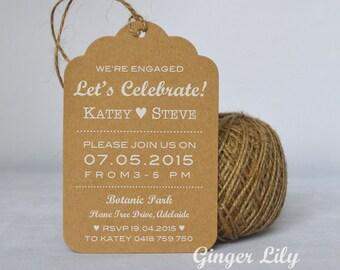 Rustic Kraft Luggage Tag Engagement Invitation - White Print - Heart Design - Jute Twine