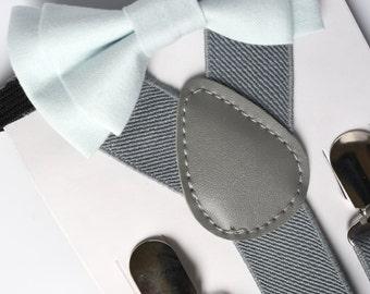 SUSPENDER & BOWTIE SET.  Light grey suspenders. Baby Blue bow tie. Newborn - Adult sizes.