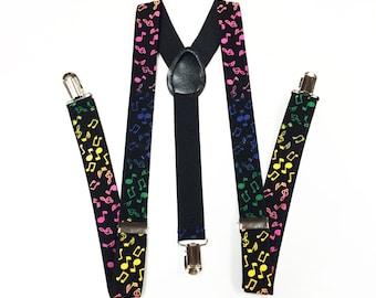 Mens suspenders, Black Suspenders, Musical Notes, Colorful, mens suspender, boys suspenders, girls suspenders, Suspenders, Men's suspenders