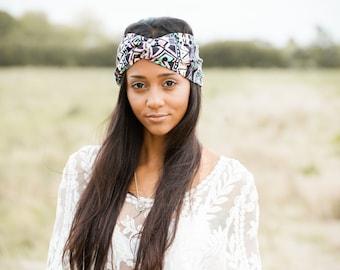 Boho Turban, Bohemian Turban Headband, Turban Headband, Tribal Head wrap, Print Turban, Turband, Turband Headband, Stretch turban, headband