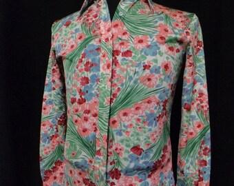 Vintage 70s Shirt, Floral Shirt, Hippie, Boho (Women's XS/Small?), Disco Shirt, Pointy Collar Shirt, 70s Sit-com, 70s TV Show, Like New