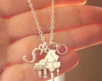 Piano Necklace, Piano Player Necklace, Gift for Piano Player, Gifts for Piano Players, Piano Jewelry, Little Girl Gift, Music Jewelry