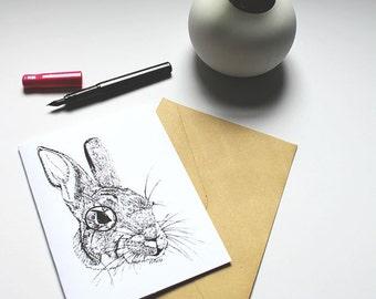 6.5x5 Monocle Rabbit Sketch Illustration Blank Greeting Card