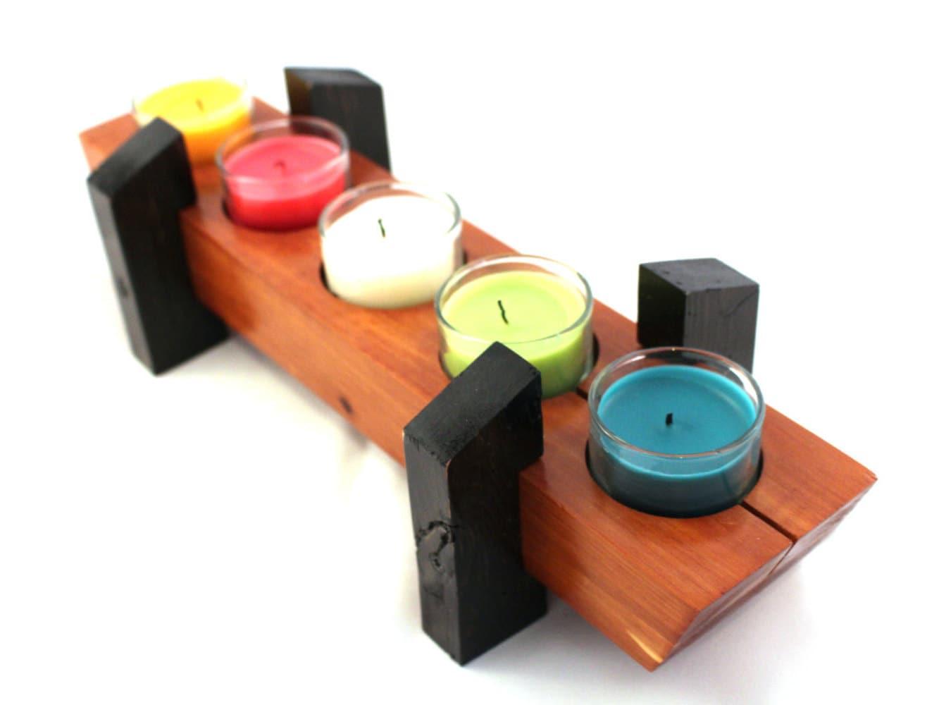 Cedar tea light centerpiece exotic wood candleholder
