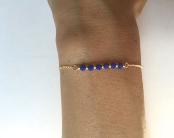 Lapis and gold beaded bracelet, gold chain and lapis bracelet, friendship bracelet, gold chain beaded bracelet, royal blue bracelet.