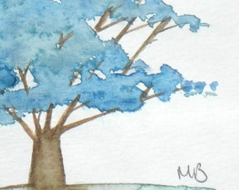Blue Tree, Original Watercolor Painting