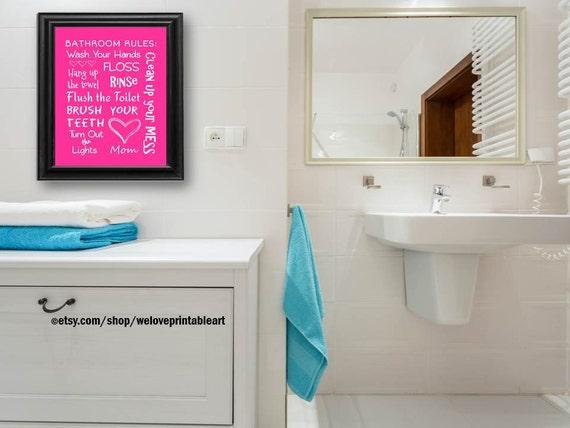 Items similar to kids hot pink bathroom art decor bathroom for Hot pink bathroom ideas
