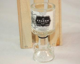 Shot Glass Upcycled from Kraken Mini Liquor Bottle, Goblet Shot Glass from Recycled Bottle