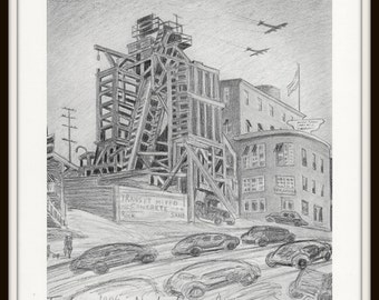 Los Angeles Art Print, Busy Los Angeles Street, 8 x 10 Black and White Art, Vintage Lithograph Art Print, Wall Art, Home Decor, Travel Art