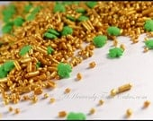 Shamrock and Gold Cupcake and Candy Sprinkles - Great for Irish School Graduation - Irish Wedding Baby or Bridal Shower - Gold Green Jimmies