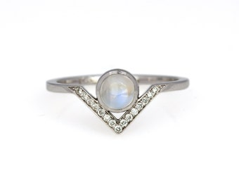 Angled Diamond Ring with moonstone in 14KW