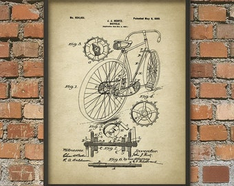 Bicycle Patent Wall Art Poster 2 - Cyclist Gift Idea - Cycling Wall Art - Bicycle Patent Design - Cyclist Gift Idea - Road Bicycle
