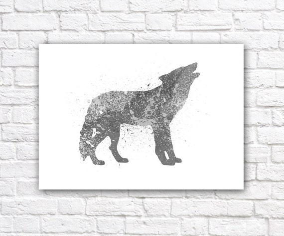 Wolf Watercolor Wall Art Print Modern Home Decor By