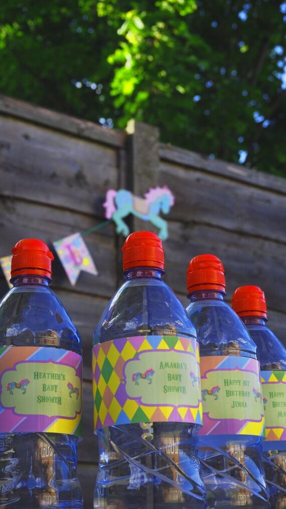 CARNIVAL - Fair Ground - Carousel - Personalised - Bottle Labels - Birthday - Shower - Pastel - PRINTABLE - Pdf - Digital