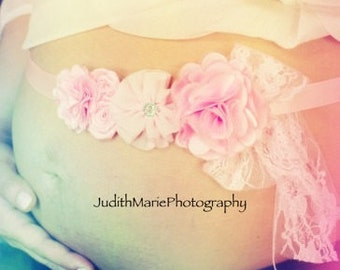 Ships Next Day!!/Pink Vintage Inspired Maternity Sash/Flower Sash for Baby Girls/Gorgeous Flower Sash/Light Pink Flower Sash