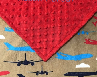 Red Minky Blanket, Airplane Minky Blanket, Personalize or add Birth Square. Birth Announcement Blanket