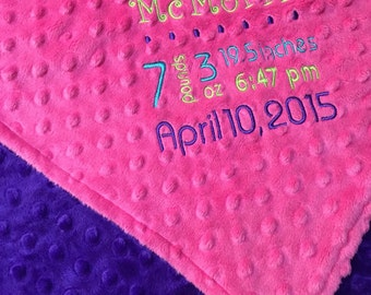 Birth Announcement Blanket, Premium Minky Blanket, Fuchsia Minky, Personalized Blanket, Baby Shower Gift