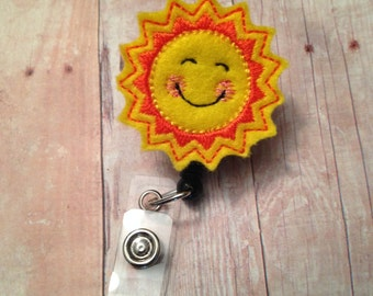 Sunshine badge reel -- perfect gift for anyone who wears a badge to work -- teacher, nurse, doctor, school employee, hospital employee