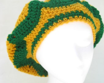 school colors hat , yellow and green hat, crochet hat , tam , yellow slouchy , green beret