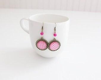 White Polka Dots Pink Earrings