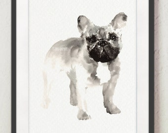 French Bulldog Print Bulldog Francés Dog Illustration Watercolor Frenchie Art