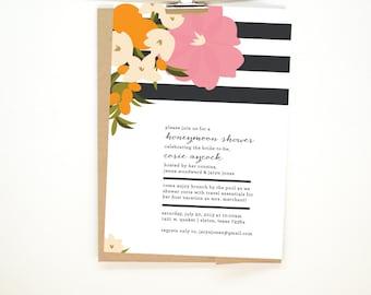 Floral Stripe - Honeymoon or Bridal Shower Invitation - Printable File