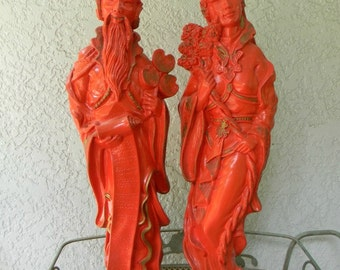 Vintage Asian Statues Figurines Sculptures Set of 2 Large Pair Japanese Chinese Oriental Statues Red Garden 1960s Home Decor