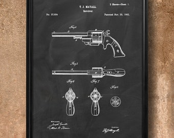 "Retro 1862 ""Revolver"" Vintage Patent Illustration, Art Print Poster, Wall Art, Home Decor, Gun, Handgun, Firearm, Pistol, Revolver, Gift 870"