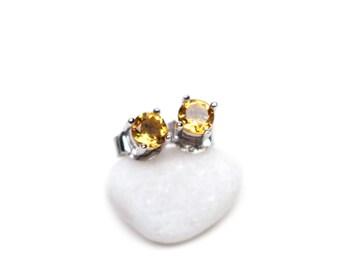 Citrine Earrings - Genuine Citrine Jewelry, Yellow Gemstone Earrings, Stud Earrings Handmade, Silver Earrings for Her