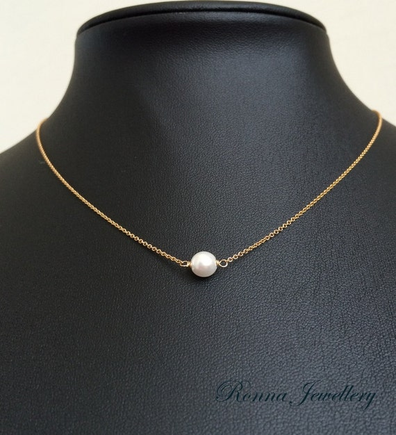 floating pearl necklace dainty pearl necklace by