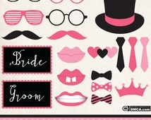 Printable Photo Booth Props, Wedding Photo Booth Props, Glasses and Moustaches Clipart, Wedding Clipart, High Quality Clipart