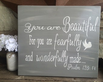 You are Beautiful | Hand painted | Wooden sign | Nursery | Baby Decor | Shabby Chic | Farmhouse Style