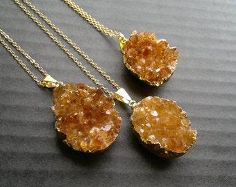 Citrine Necklace Citrine Druzy Pendant Citrine Crystal Citrine Jewelry Citrine Cluster Crystal Gold Dipped Stone November Birthstone Boho