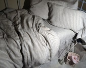 Pinstriped linen bedding. Gray and White stripes. Stonewashed Linen Duvet Cover / Quilt Cover / Doona Cover