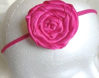 Hot Pink Rose Elastic Headband