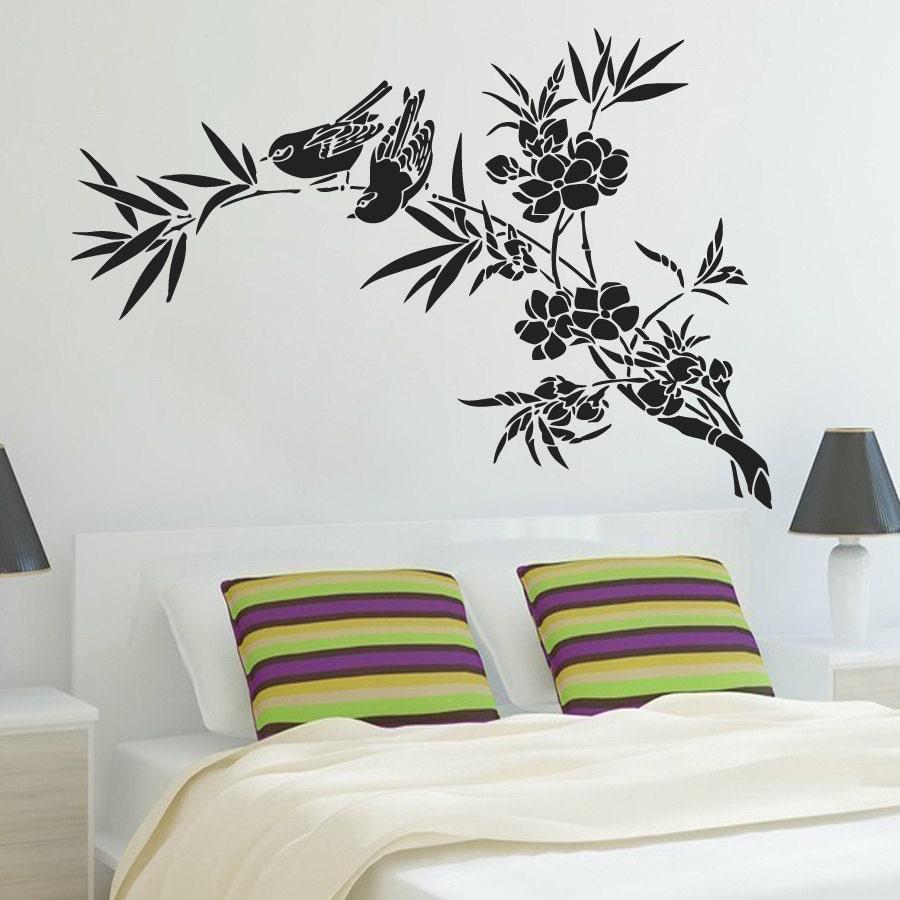 Nature Wall Decor Stickers : Wall decals bird branch flowers nature decal vinyl sticker
