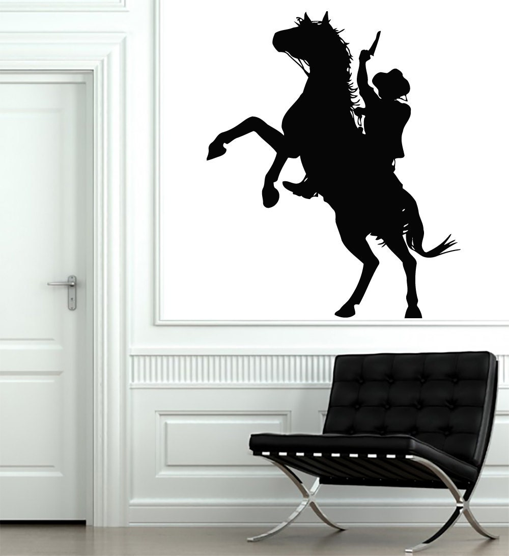 Wall decals horse cowboy gun weapon decal vinyl sticker decal for Cowboy wall mural