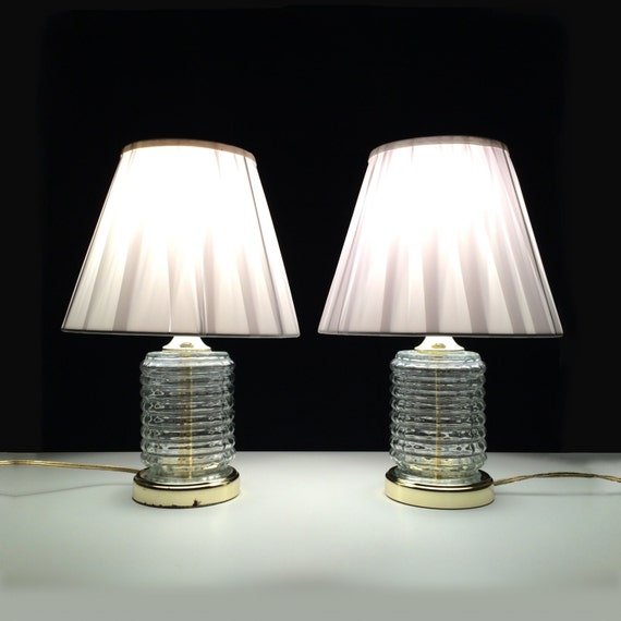 pair of vintage art deco crystal night stand table lamps with. Black Bedroom Furniture Sets. Home Design Ideas