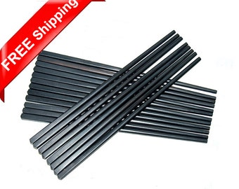 10 Pairs Genuine Black Ebony Wood Handmade Square Head Chopsticks Fine Polishing Finish