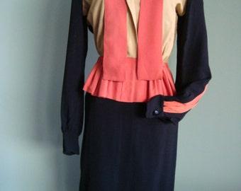 1940s Black, Beige & Rust Shirt Waisted Vintage Day Dress