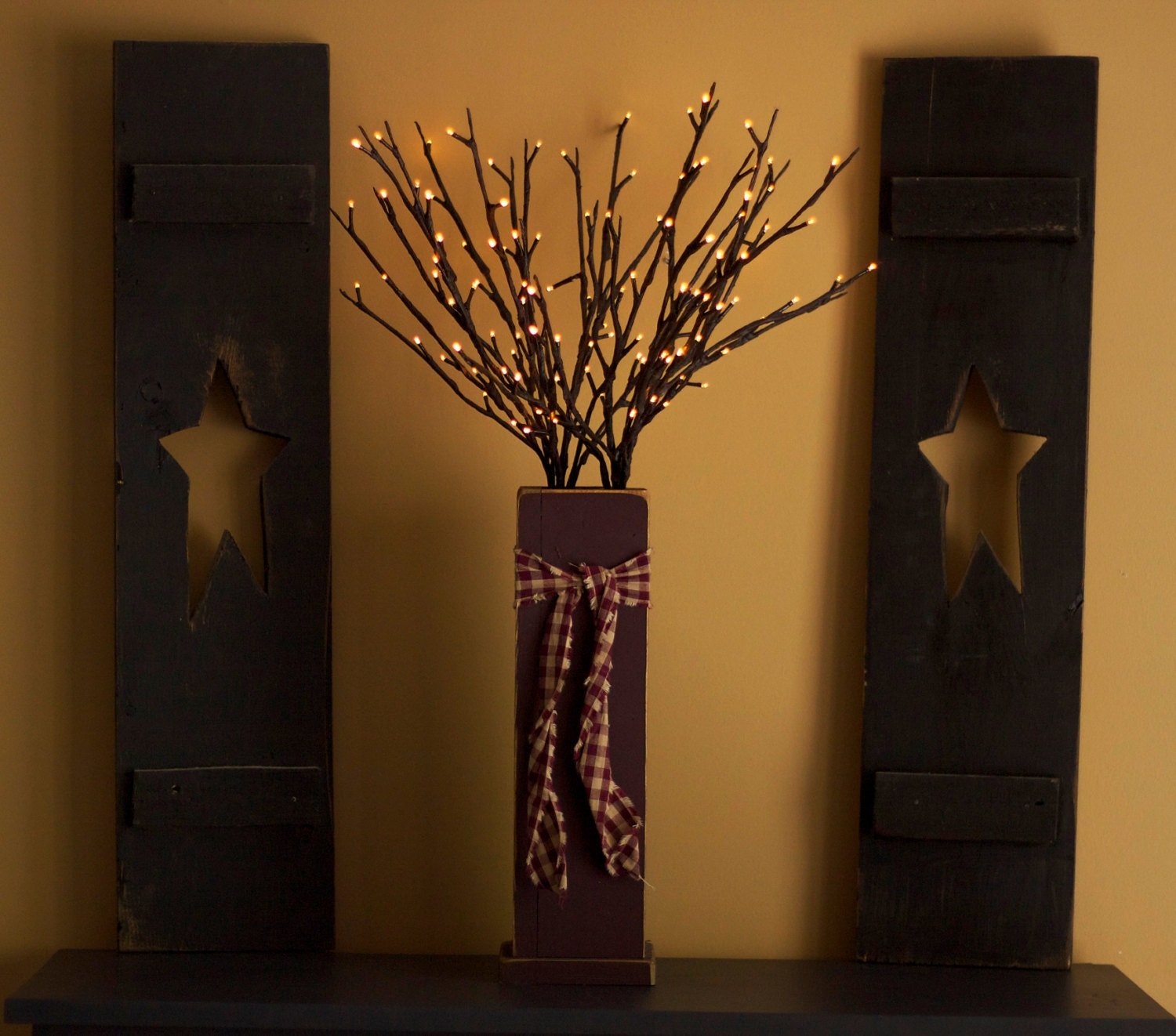 Primitive lighted twig box primitive wood decor lighted for Twig decorations home