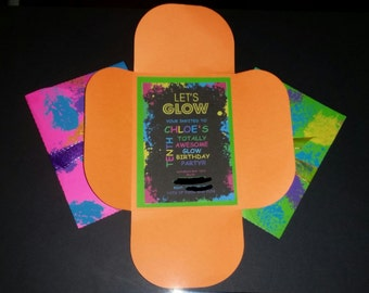 Glow Party Invitations// Glow in the Dark// Party// Birthday// Invitaions