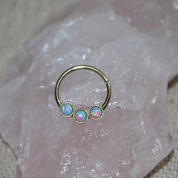 Septum Ring - Solid Gold Nose Ring 2mm Blue Opal - Helix Ring - Tragus Piercing - Septum Hoop - Nipple Jewelry - Cartilage Ring 20 gauge
