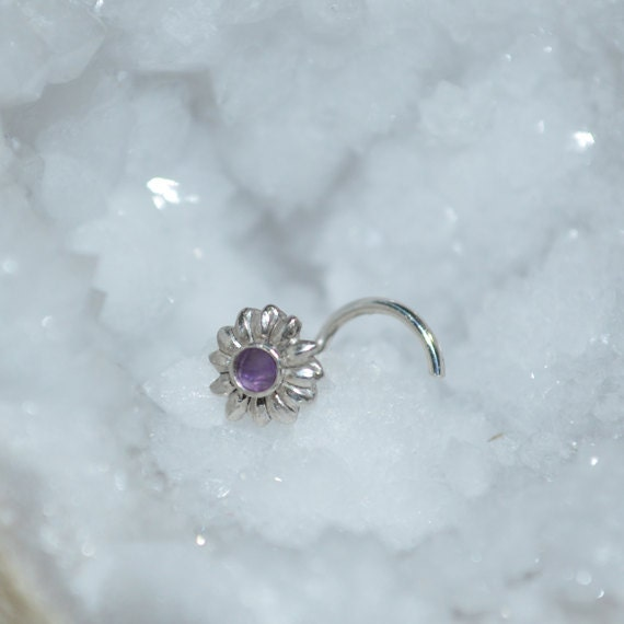 2mm Amethyst Nose Ring Stud - Silver Nose Piercing - Nose Stud - Helix Earring Stud - Tragus Jewelry - Cartilage Hoop - Conch Piercing 20g