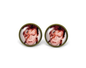 X496- David Bowie, Glass Dome Post Earrings