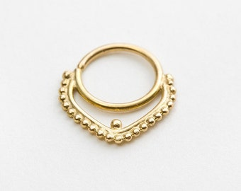 Large Septum Ring, 16g Septum Piercing, Solid 14k Gold Septum Jewelry, Nose Ring, Gold Nose Ring, Nose Bling, Yellow Gold